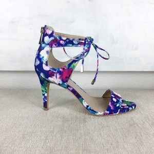 Vince Camuto Blue Floral Celia Ankle Tie Heels 7